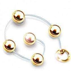 Colar Tailandes cordão em silicone HARD (com 5 esferas) - Dourada